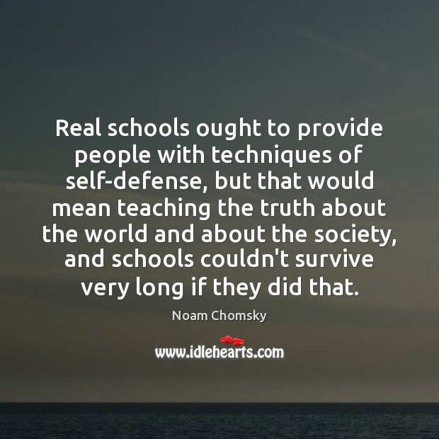 Real schools ought to provide people with techniques of self-defense, but that Image
