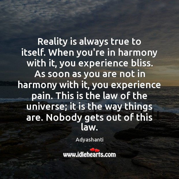 Image, Reality is always true to itself. When you're in harmony with it,