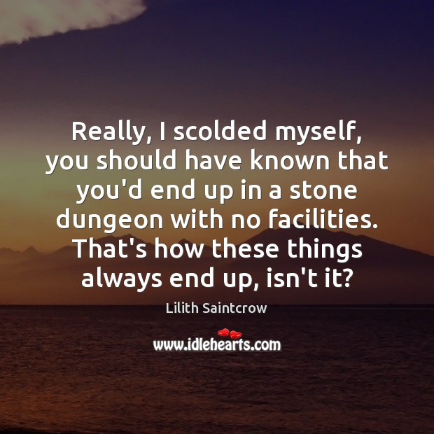 Really, I scolded myself, you should have known that you'd end up Lilith Saintcrow Picture Quote