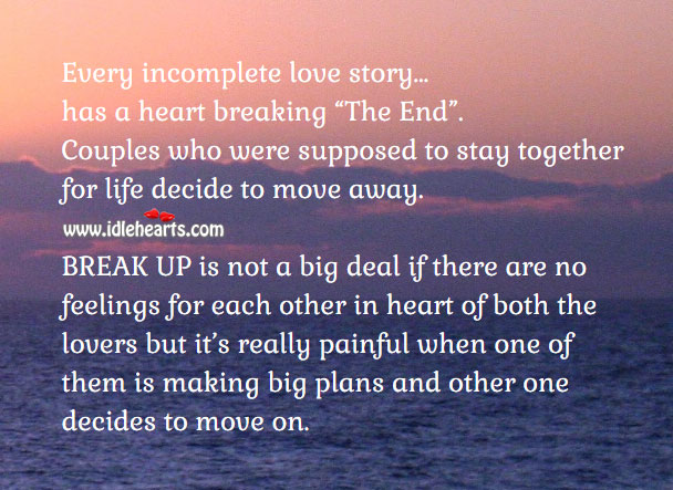 In relationship it's really painful when one decides to move on. Sad Quotes Image