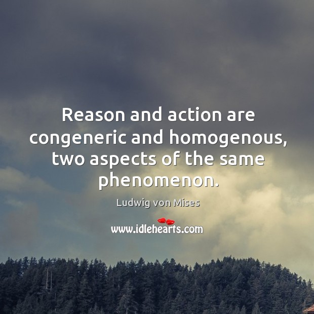 Image, Reason and action are congeneric and homogenous, two aspects of the same phenomenon.