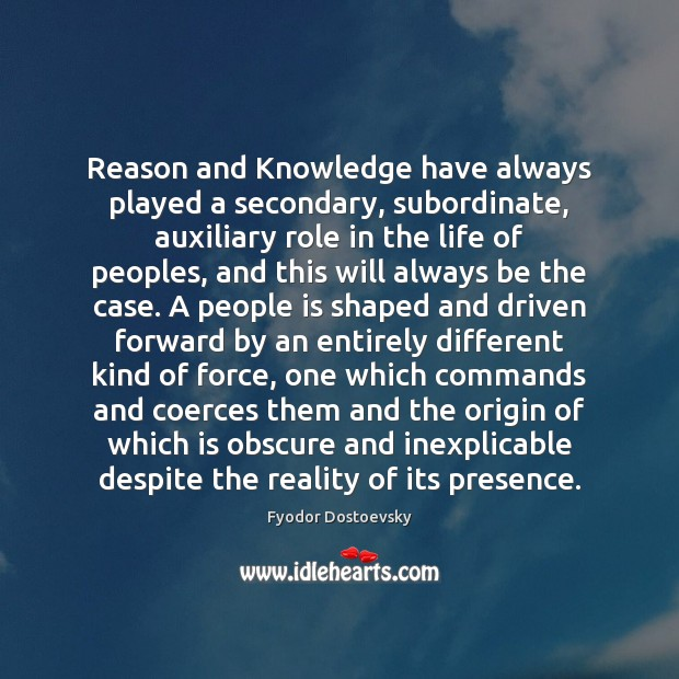 Image, Reason and Knowledge have always played a secondary, subordinate, auxiliary role in