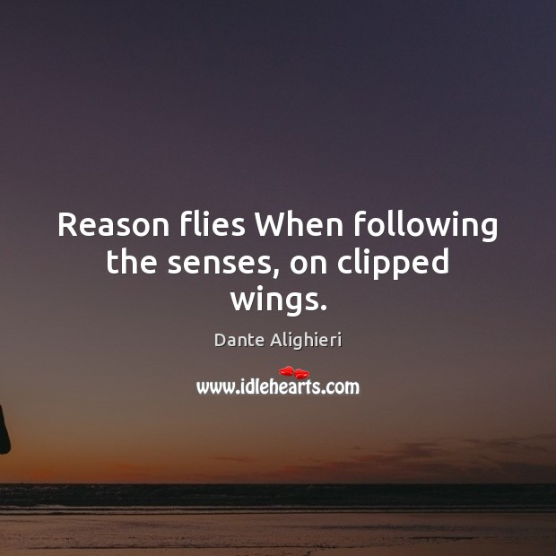 Reason flies When following the senses, on clipped wings. Dante Alighieri Picture Quote