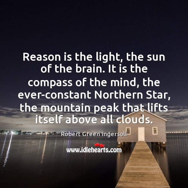 Reason is the light, the sun of the brain. It is the Image