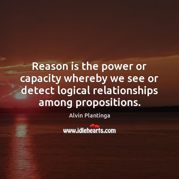 Image, Reason is the power or capacity whereby we see or detect logical