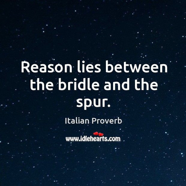 Image, Reason lies between the bridle and the spur.