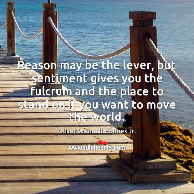 Reason may be the lever, but sentiment gives you the fulcrum and Image