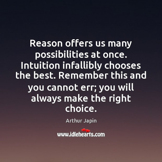 Reason offers us many possibilities at once. Intuition infallibly chooses the best. Image