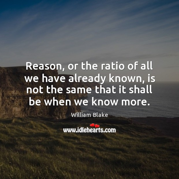 Reason, or the ratio of all we have already known, is not Image