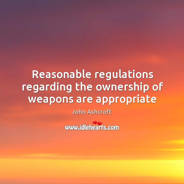 Reasonable regulations regarding the ownership of weapons are appropriate Image