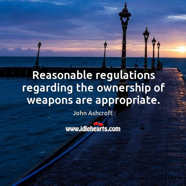 Reasonable regulations regarding the ownership of weapons are appropriate. Image
