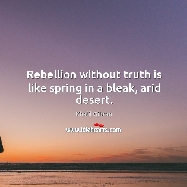 Rebellion without truth is like spring in a bleak, arid desert. Image