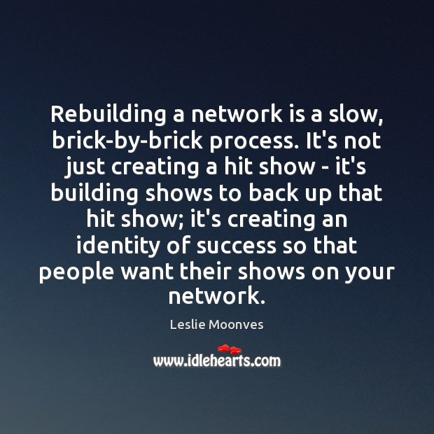 Rebuilding a network is a slow, brick-by-brick process. It's not just creating Image