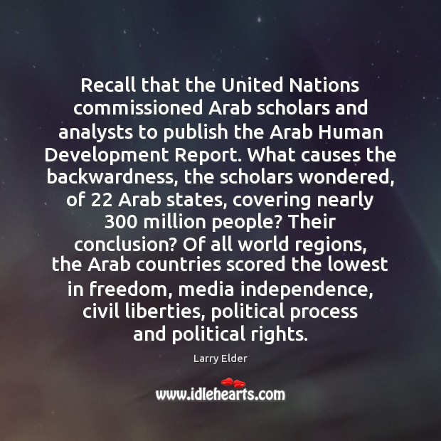 Recall that the United Nations commissioned Arab scholars and analysts to publish Image