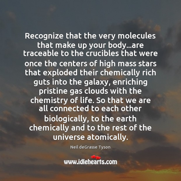 Recognize that the very molecules that make up your body…are traceable Neil deGrasse Tyson Picture Quote