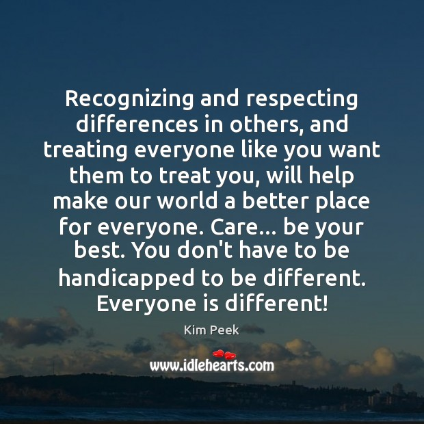 Image, Recognizing and respecting differences in others, and treating everyone like you want