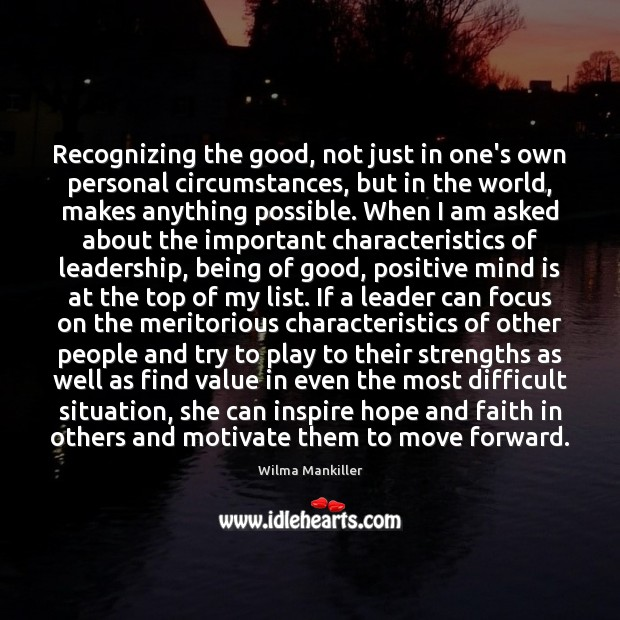 Recognizing the good, not just in one's own personal circumstances, but in Image