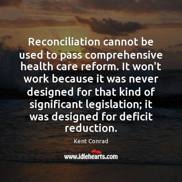 Reconciliation cannot be used to pass comprehensive health care reform. It won't Image