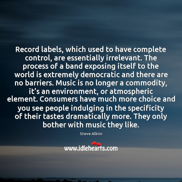 Record labels, which used to have complete control, are essentially irrelevant. The Steve Albini Picture Quote