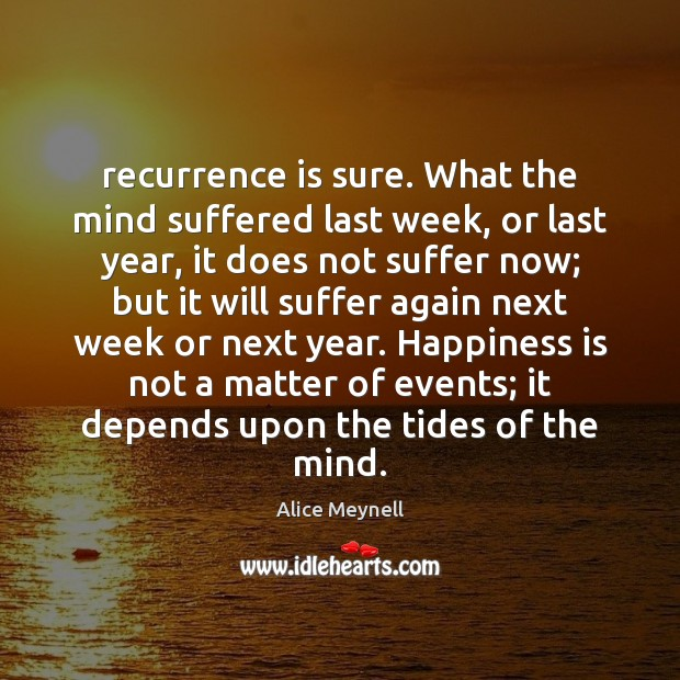 Image, Recurrence is sure. What the mind suffered last week, or last year,