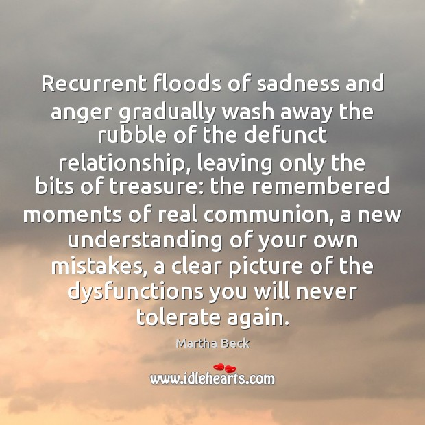 Image, Recurrent floods of sadness and anger gradually wash away the rubble of