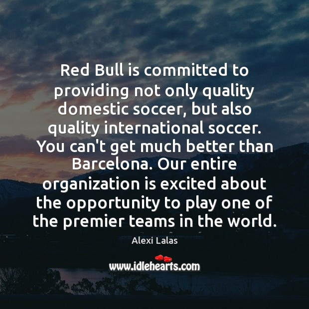 Image, Red Bull is committed to providing not only quality domestic soccer, but