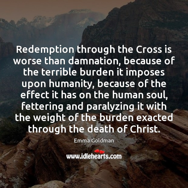 Image, Redemption through the Cross is worse than damnation, because of the terrible
