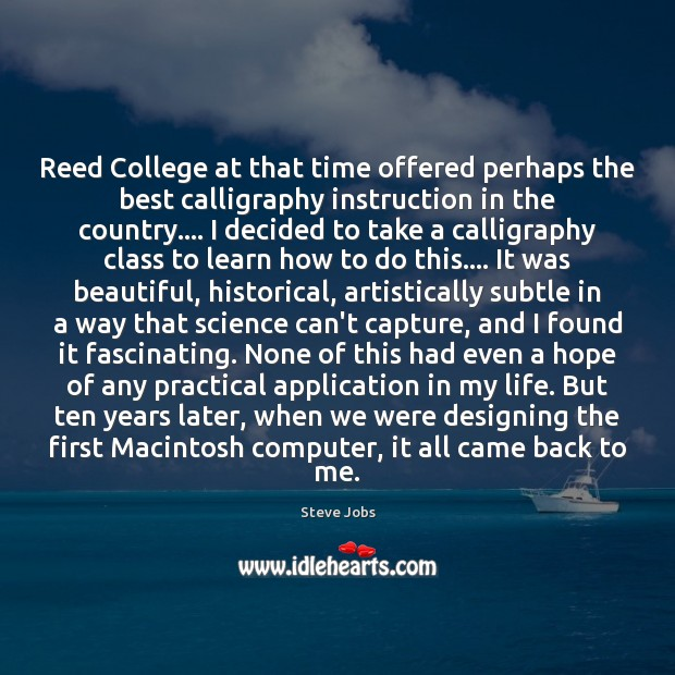 Image, Reed College at that time offered perhaps the best calligraphy instruction in