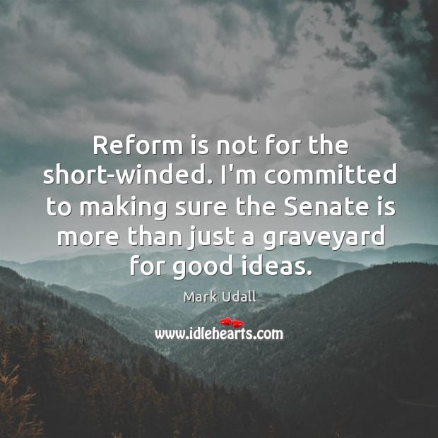 Reform is not for the short-winded. I'm committed to making sure the Image