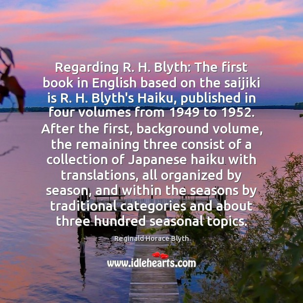 Regarding R. H. Blyth: The first book in English based on the Image