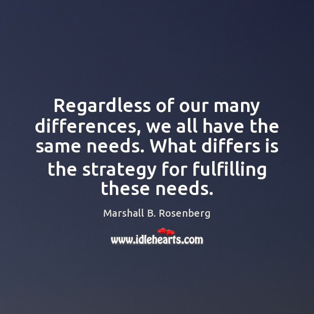 Regardless of our many differences, we all have the same needs. What Marshall B. Rosenberg Picture Quote