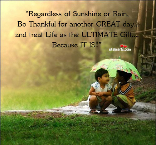 Regardless Of Sunshine Or Rain, Be Thankful for Another…