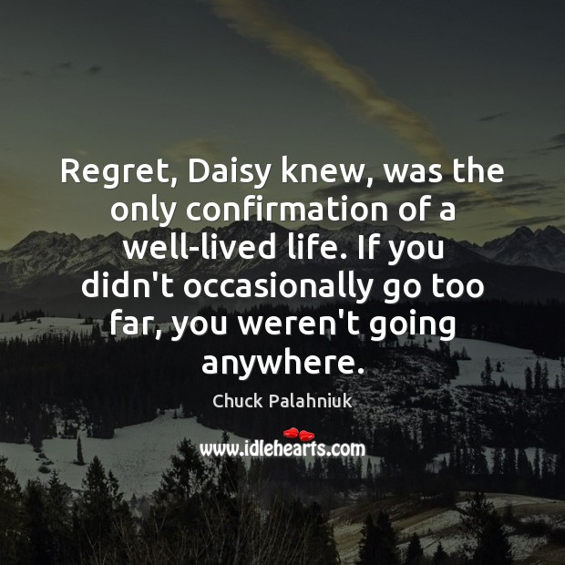 Image, Regret, Daisy knew, was the only confirmation of a well-lived life. If