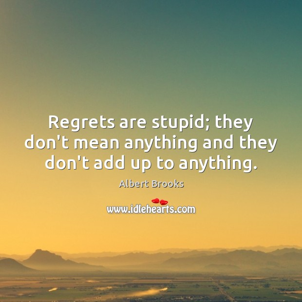 Regrets are stupid; they don't mean anything and they don't add up to anything. Image