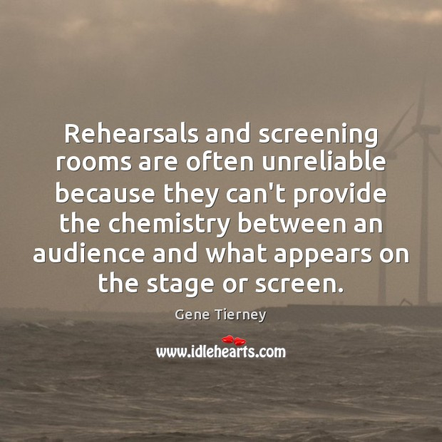 Rehearsals and screening rooms are often unreliable because they can't provide the Image