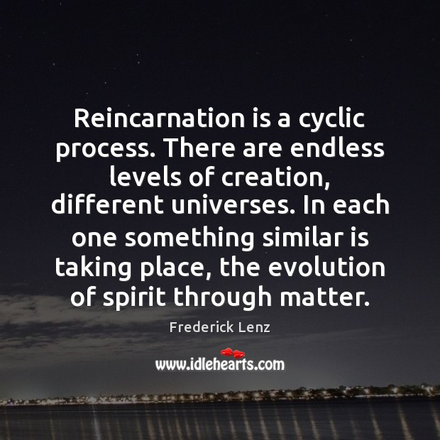 Image, Reincarnation is a cyclic process. There are endless levels of creation, different