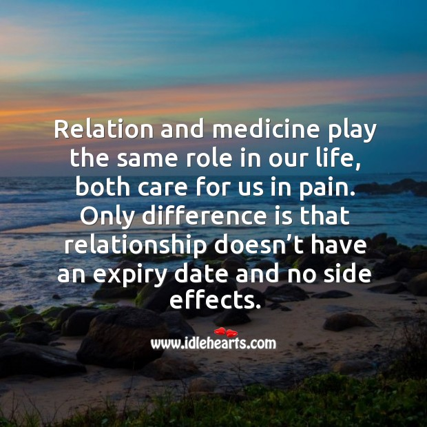 Image, Relation and medicine play the same role in our life, both care for us in pain.