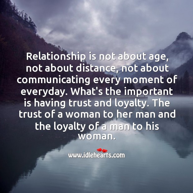 Image, Relationship is about the trust of a woman to her man and the loyalty of a man to his woman.