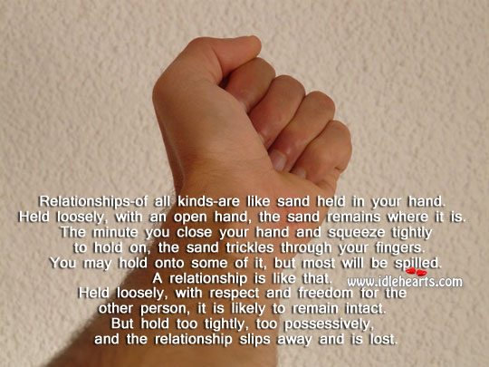 Image, Relationship is like sand held in hand.