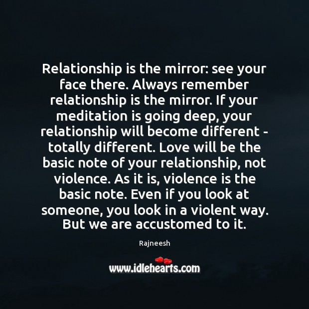 Image, Relationship is the mirror: see your face there. Always remember relationship is