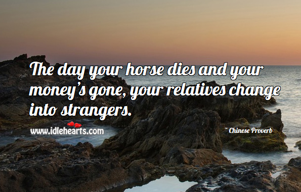 The day your horse dies and your money's gone, your relatives change into strangers. Chinese Proverbs Image