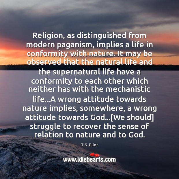 Religion, as distinguished from modern paganism, implies a life in conformity with Image