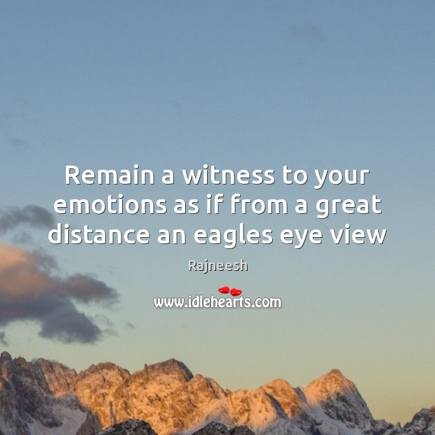 Image, Remain a witness to your emotions as if from a great distance an eagles eye view