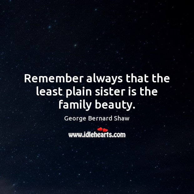 Remember always that the least plain sister is the family beauty. Sister Quotes Image