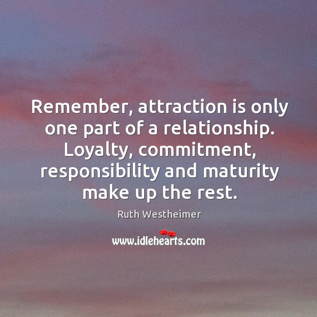 Remember, attraction is only one part of a relationship. Loyalty, commitment, responsibility Image