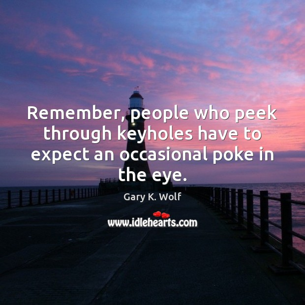 Remember, people who peek through keyholes have to expect an occasional poke in the eye. Expect Quotes Image