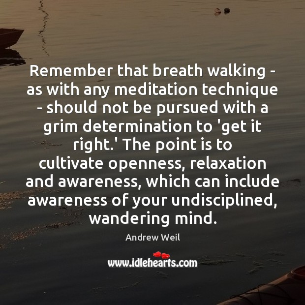 Remember that breath walking – as with any meditation technique – should Andrew Weil Picture Quote