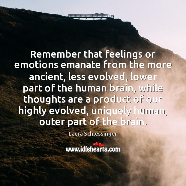 Image, Remember that feelings or emotions emanate from the more ancient, less evolved,