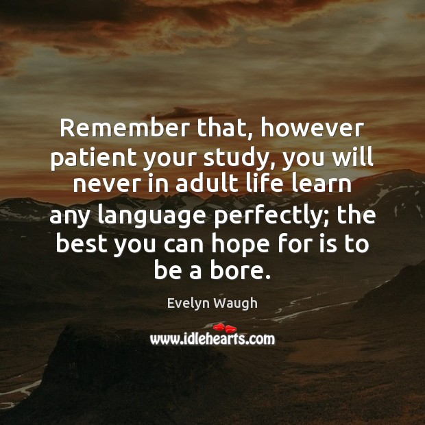 Image, Remember that, however patient your study, you will never in adult life