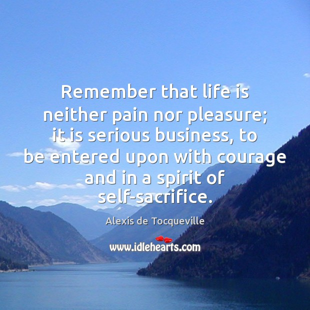 Remember that life is neither pain nor pleasure; it is serious business, Image